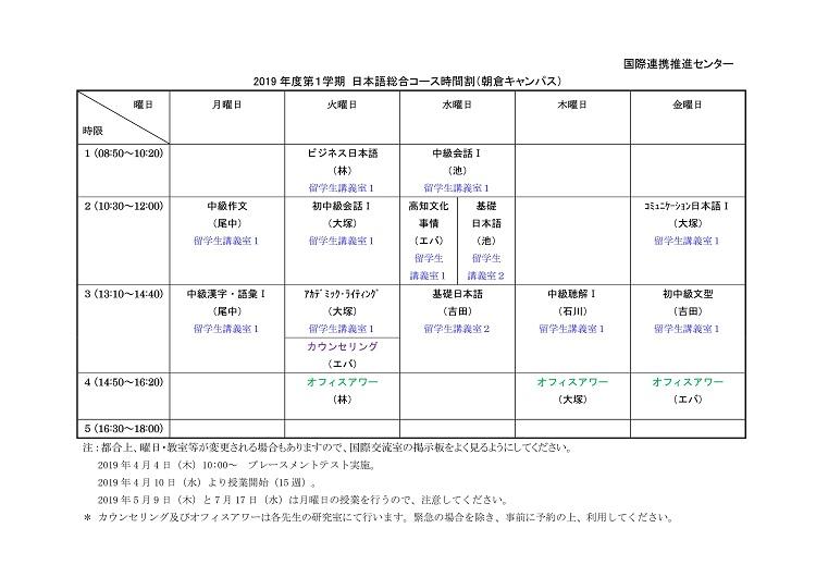 Timetable at Asakura Campus 1st semester | 高知大ポータル